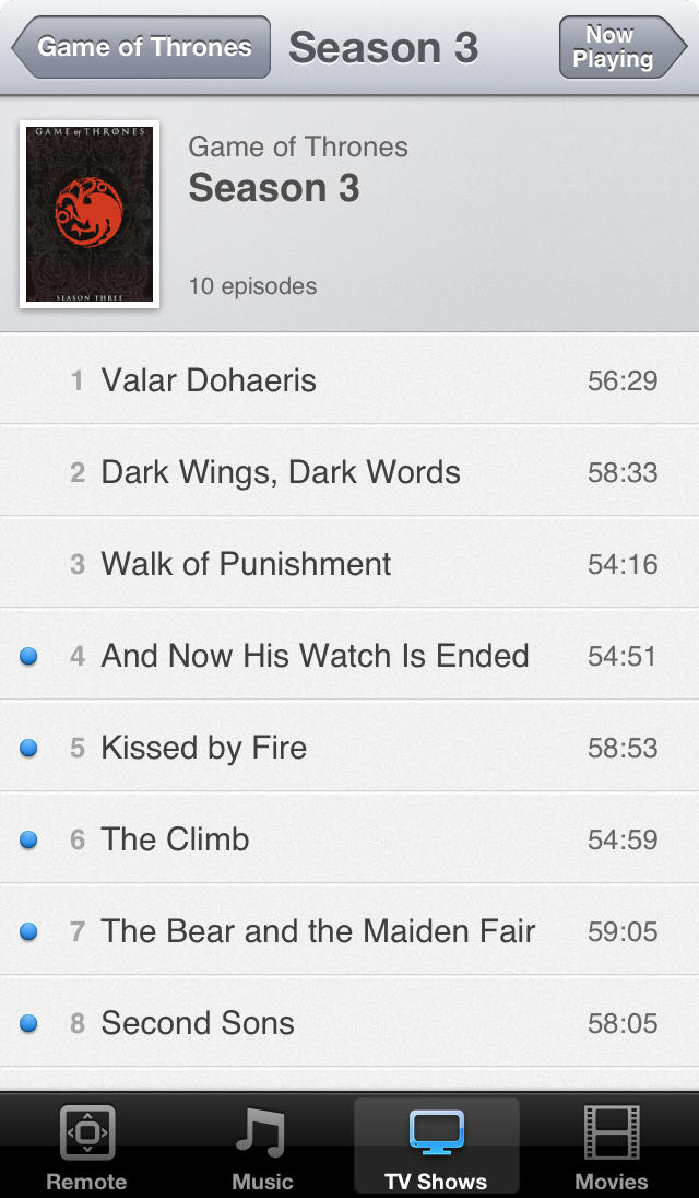 TV Show on iOS 6