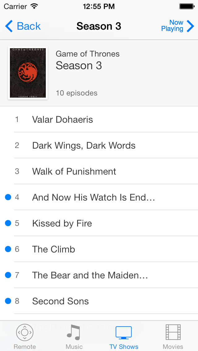 TV Show on iOS 7